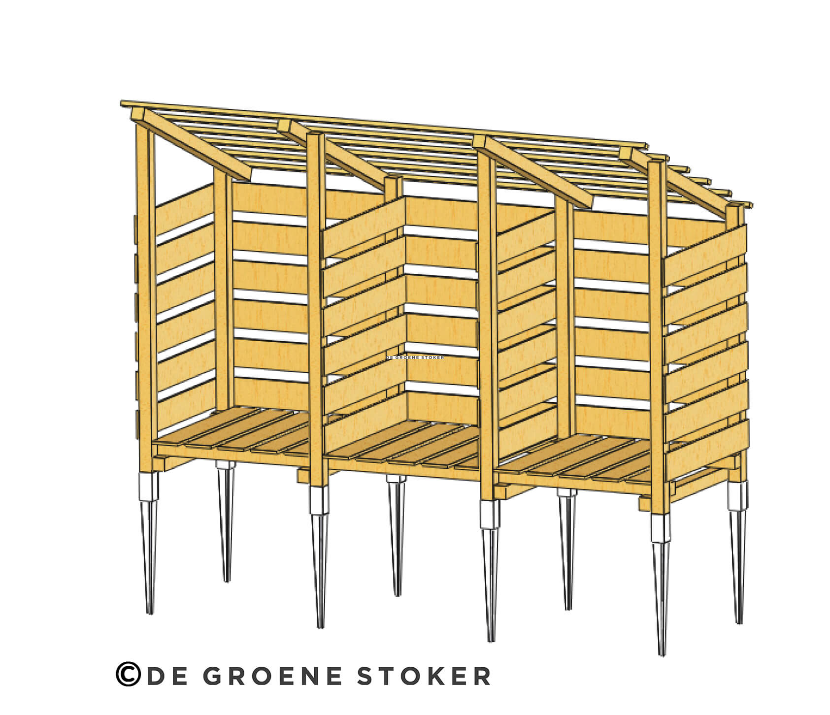 Het belang van droog hout; download de tekening voor je eigen ideale houtopslag